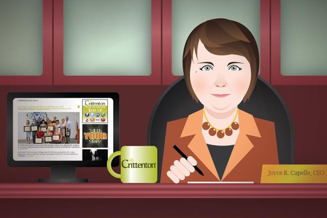 Crittenton CEO, Joyce Capelle, blogging from her desk.