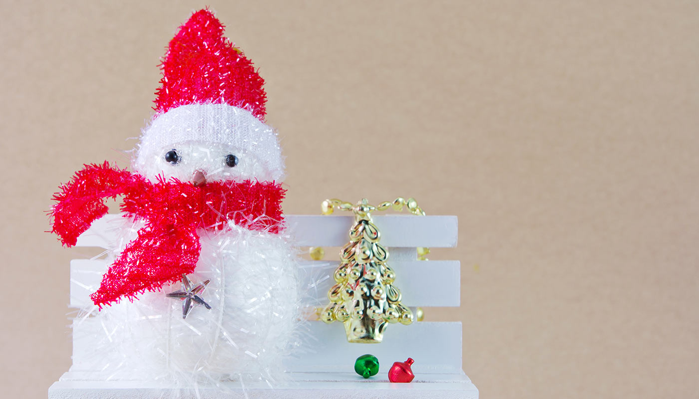 Christmas snowman sitting on a bench asking for Christmas donations.